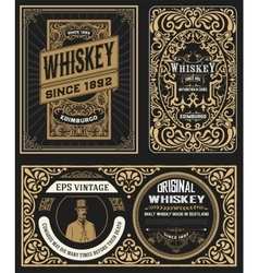 Set of Vintage badge for whiskey packing vector