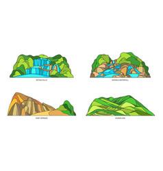 Set vietnam landmarks or landscape waterfalls vector