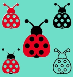 Seven spot ladybird icons vector image