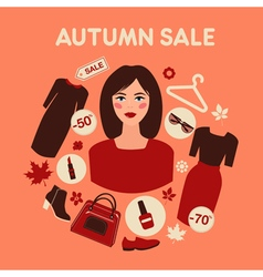 Shopping Autumn Sale in Flat Design with Woman vector image