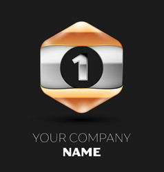 Silver number one logo in silver-golden hexagonal vector