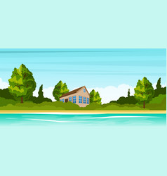 Small house on the river bank rural summer vector
