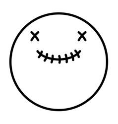 Smiley skull happy halloween icon line image vector