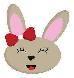 smiling beige rabbit with red bow on white vector image