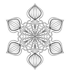 snow flake in zentangle style doodle mandala for vector image