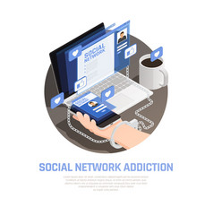 social networks isometric background vector image
