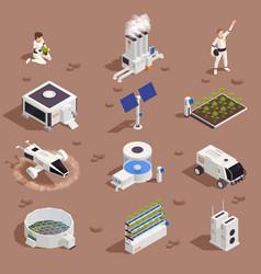 Space colonization structures set vector