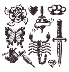 Tattoo set of objects and design elements vector