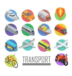 transport logo set icons vector image
