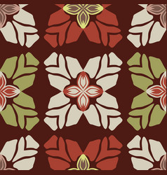 trendy retro style flower seamless pattern vector image
