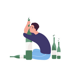 Unhappy man sitting on floor and hugging bottle vector
