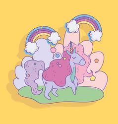 unicorn rainbows clouds stars fantasy magic vector image