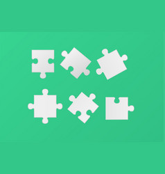 white blank jigsaw puzzle pieces set realistic vector image