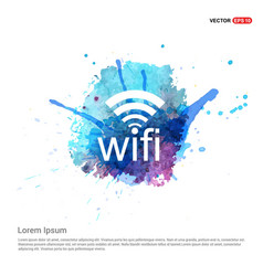 wifi icon logo - watercolor background vector image