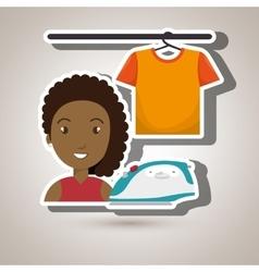 Woman cartoon ironing hang tshirt vector