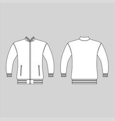 zip fastener turleneck jacket man template front vector image