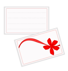 A White Gift Card with Beautiful Red Ribbon vector image