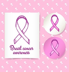 Breast canser awareness ribbon vector image