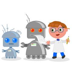 cartoon inventor with robots vector image
