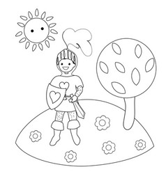knight in the clearing in the woods coloring book vector image