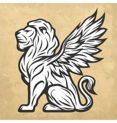 Lion statue with wings Vintage style vector image vector image