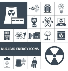Nuclear energy icons set black vector image vector image