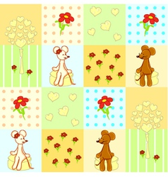 Seamless pattern with cute mouses vector image