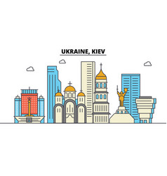 ukraine kiev city skyline architecture vector image