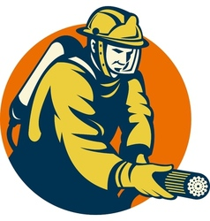 Firefighter or fireman aiming a fire hose vector image