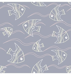 Fish and waves seamless pattern vector image vector image
