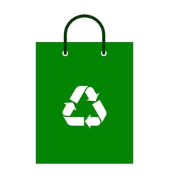 Green bag with recycle symbol vector image