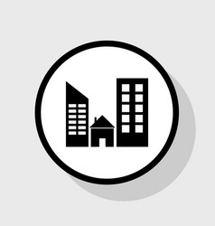 real estate sign flat black icon in white vector image vector image