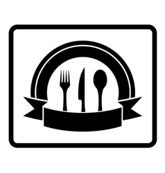 spoon knife fork on black icon vector image