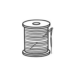 thread spool with needle hand drawn sketch icon vector image