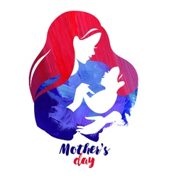 Acrylic watercolor beautiful mother silhouette vector image