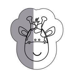 contour face giraffe ribbon bow head icon vector image