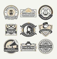 dramatic theatre vintage isolated label set vector image