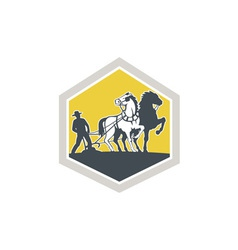 Farmer and Horses Plowing Field Crest Retro vector image vector image