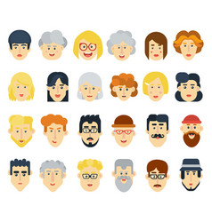 funny flat avatars icons set positive male and vector image vector image