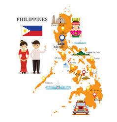 philippines map and landmarks with people in vector image vector image