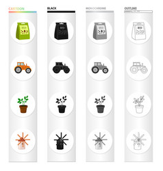A package with seeds a farm tractor a potted vector