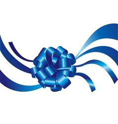 Blue ribbon and bow vector image vector image