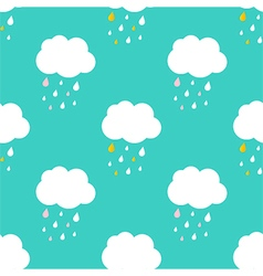 Cute sky with rainy clouds seamless pattern vector image vector image