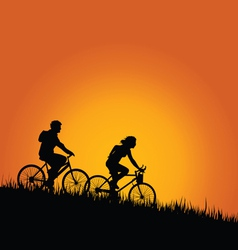 cyclists in nature color vector image vector image
