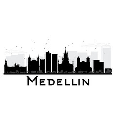 Medellin city skyline black and white silhouette vector
