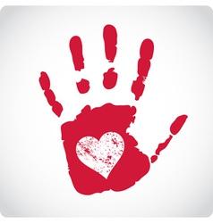 Romantic Valentine postcard with handprints vector image vector image
