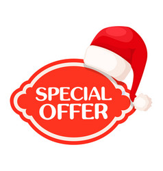 special offer red label under santa claus hat vector image vector image
