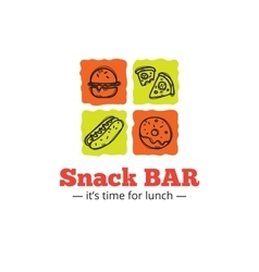 trendy snack bar logo in doodle style vector image vector image