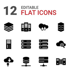 12 database icons vector image