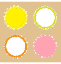 4 cute lace border round labels vector image